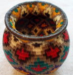 Wounaan Indian Hand Woven Colorful Basket -Panama 20101518mm