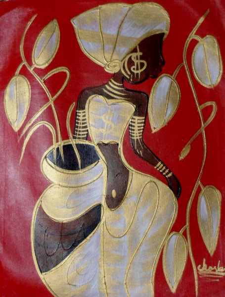 Haitian Pretty Lady Scene Painting-Panama 20021304mm