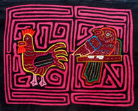 Kuna Indian Hand-Stitch Rooster & Parrot MoIa-Panama 20102213mm