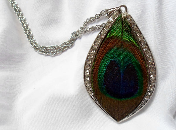 Faux Diamond Peacock Feather Pendant on Chain-20051509mm