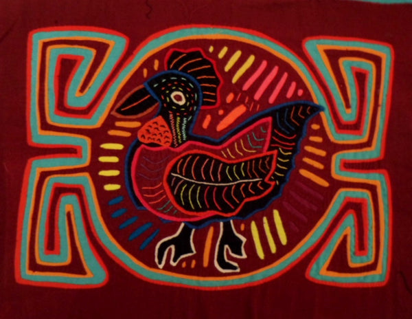 Kuna Indian Hand-Stitch Rooster MoIa II-Panama 20112413mm