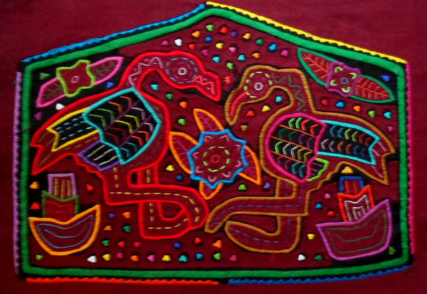 Kuna Indian Hand-Stitched Longneck Goose MoIa-Panama 20051707mm