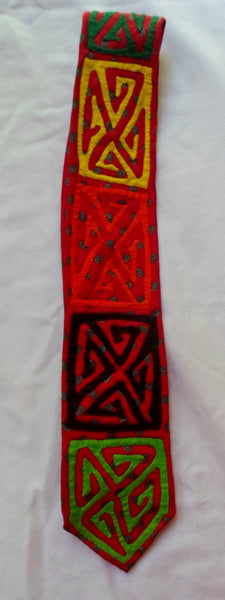 Kuna Indian Hand-Stitched Mola Necktie-Panama 20052324mm