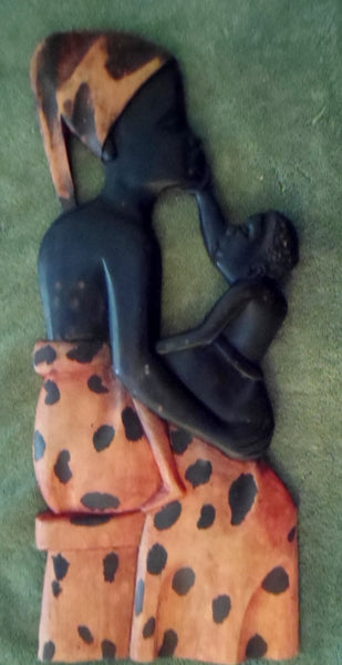 Wood Hand-Carved Wall Plaque Mother and Child-Africa 20120325mm