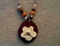 Wounaan Flower & Cocobolo Tagua Nut Pendant Carving-Panama 20052814mm