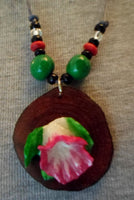 Wounaan Flower & Cocobolo Tagua Nut Pendant Carving-Panama 20052813mm