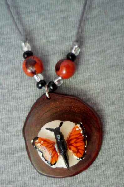 Wounaan Butterfly & Cocobolo Tagua Nut Pendant Carving-Panama 20052819mm