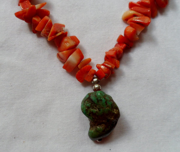 Jewelry Super Coral Chips & Stone Necklace-Peru 20052826mm