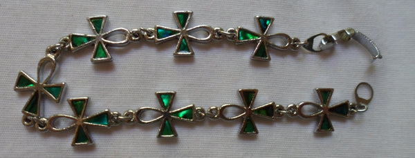 Jewelry Christian Cross inlaid Green Stone Bracelet-20060218mm
