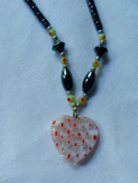 Jewelry Stone Necklace w/ Heart Pendant-Peru 20060906mm
