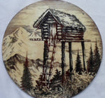Alaskan Etched & Painted Marble Mountain Man Abode Accent Piece 21021921mm