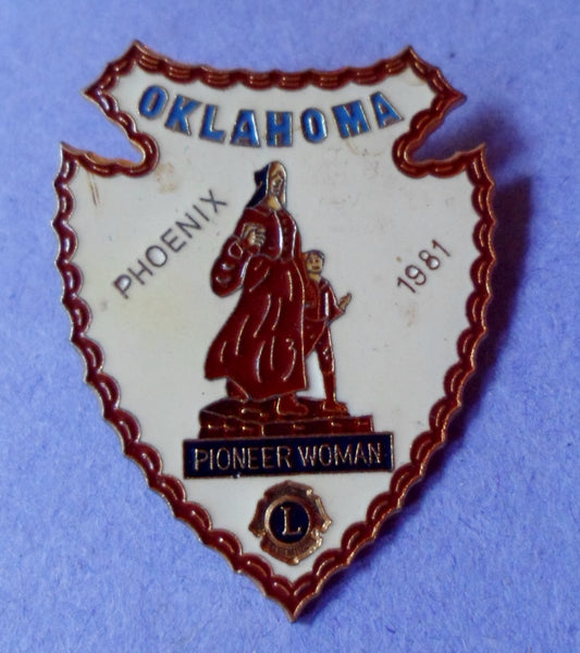 Lions Club Phoenix 1981 Oklahoma Pioneer Woman Pin 20061602mm