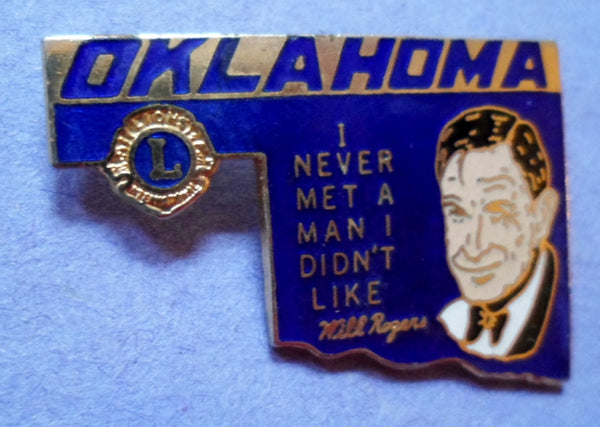 Lions Club 1978-1978 Will Rogers Oklahoma Pin  20061608mm
