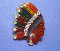 Lions Club 1980 Indian Chief  Oklahoma Pin  20061610mm