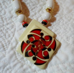 Estate Sale Ceramic Painted Bead Necklace Jewelry-USA 21021925mm