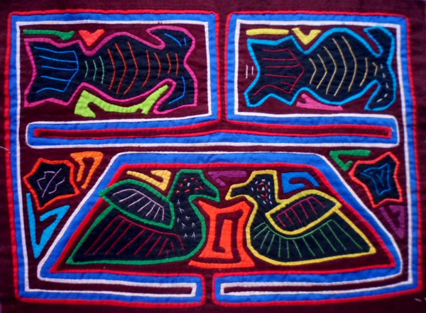 Kuna Indian Hand-Stitched Color & Symmetry Mola-Panama 21021917mm