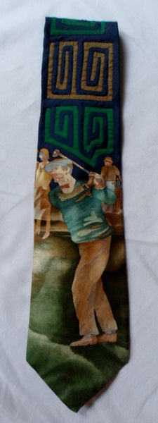 Kuna Indian Hand-Stitched Champion Golf  Mola Necktie-Panama 20071016mm