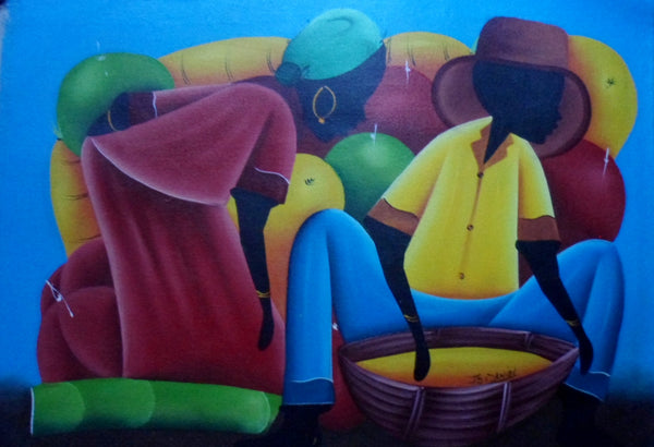 Haitian Marketplace Scene Painting-Panama 20071410mm