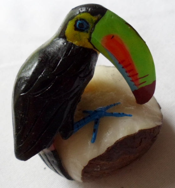 Wounaan Embera Toucan Parrot Bird Tagua Nut Carving-Panama 20072424mm