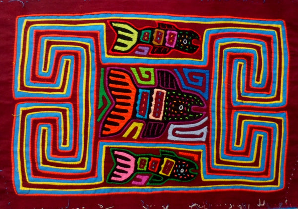 Kuna Indian Hand-Stitched 3 Fish MoIa-Panama 20072725mm