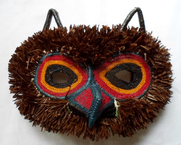 Wounaan Indian Woven Chunga Hoot Owl Bird Mask-Panama 20082521mm