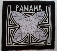 Kuna Indian Hand Stitched Black & White Flower MoIa-Panama 20091510mm