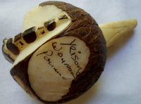 Wounaan Tagua Nut Alligator Crocodile Carving-Panama 20092216mm