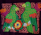 Kuna Indian Hand-Stitched Green Parrot MoIa-Panama 19020517mm