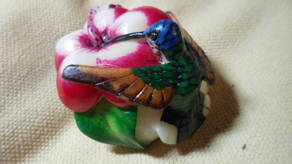Wounaan Embera Tagua Nut Hummingbird Carving-Panama 19022018mm