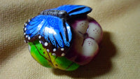 Wounaan Embera Tagua Nut Royal Blue Butterfly Carving-Panama 19022020mm