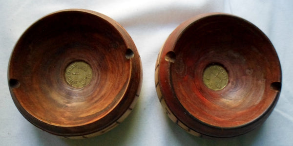 2 Uruguayan Wood Ashtray with Uruguay Coin inlay-Uruguay 21012606mm