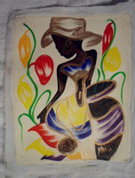 Haitian Easter Bonnet Lady Scene Painting-Panama 19100442mm