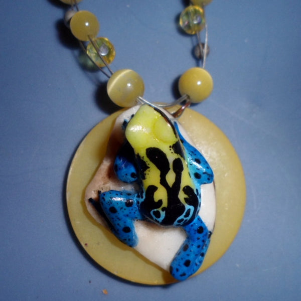 Estate Sale Necklace & Tagua Frog Carving Jewelry-Panama 19101725mm