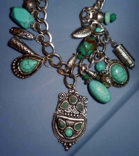 Estate Sale Turquoise & Chain Necklace Jewelry 19101726mm