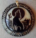 Wolf Moon Howler Tagua Nut Pendant Carving-Ecuador 19102811mm