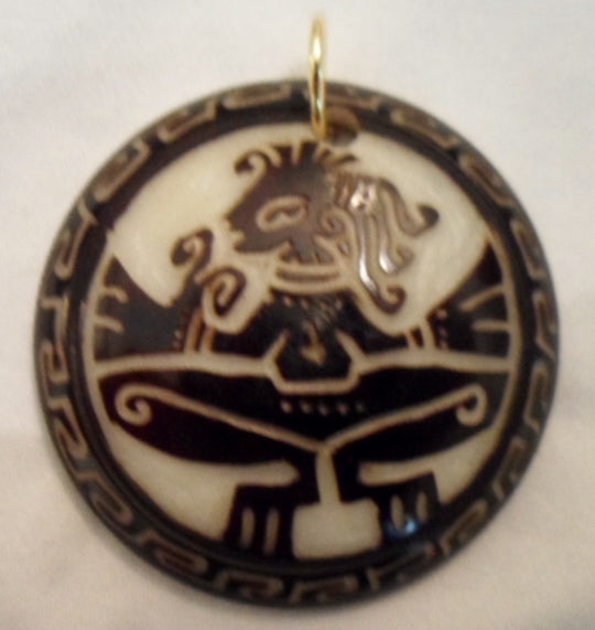 Aztec Yoga Tagua Nut Pendant Carving-Ecuador 19102803mm