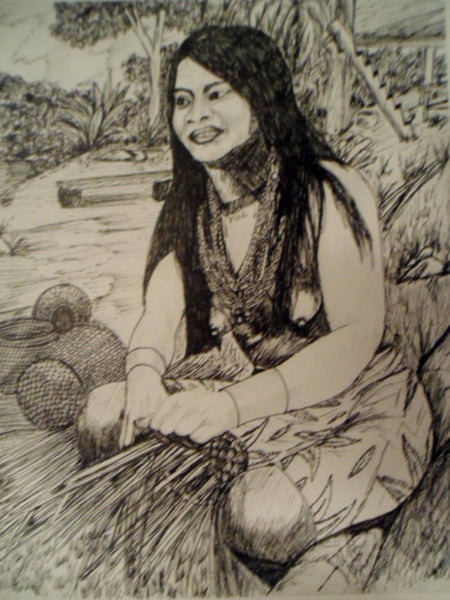 Kuna Pen & Ink Print Drawing-Panama 19103007mm