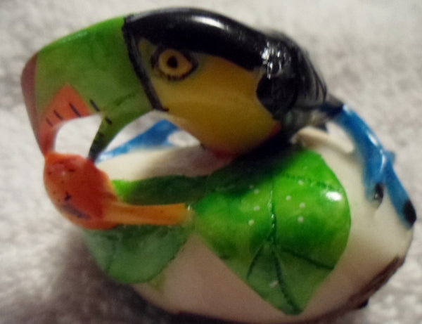 Wounaan Embera Toucan Parrot Tagua Nut Carving-Panama 19110435mm