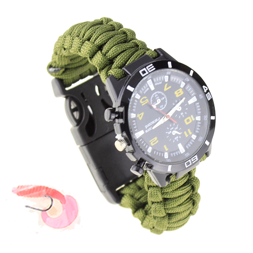 Tactical EDC multi Outdoor Camping survival bracelet watch compass Rope paracord equipment Tools kit with Fishing accessories