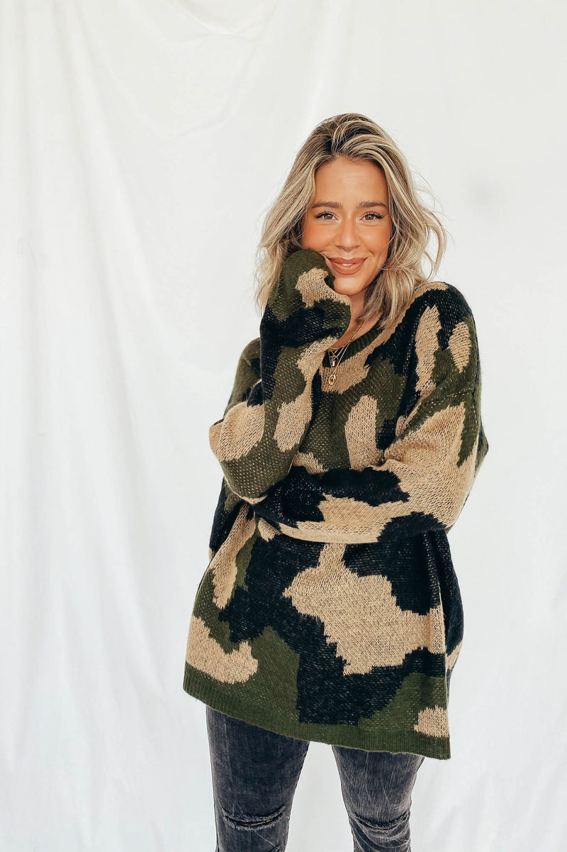 Eva Camo Sweater