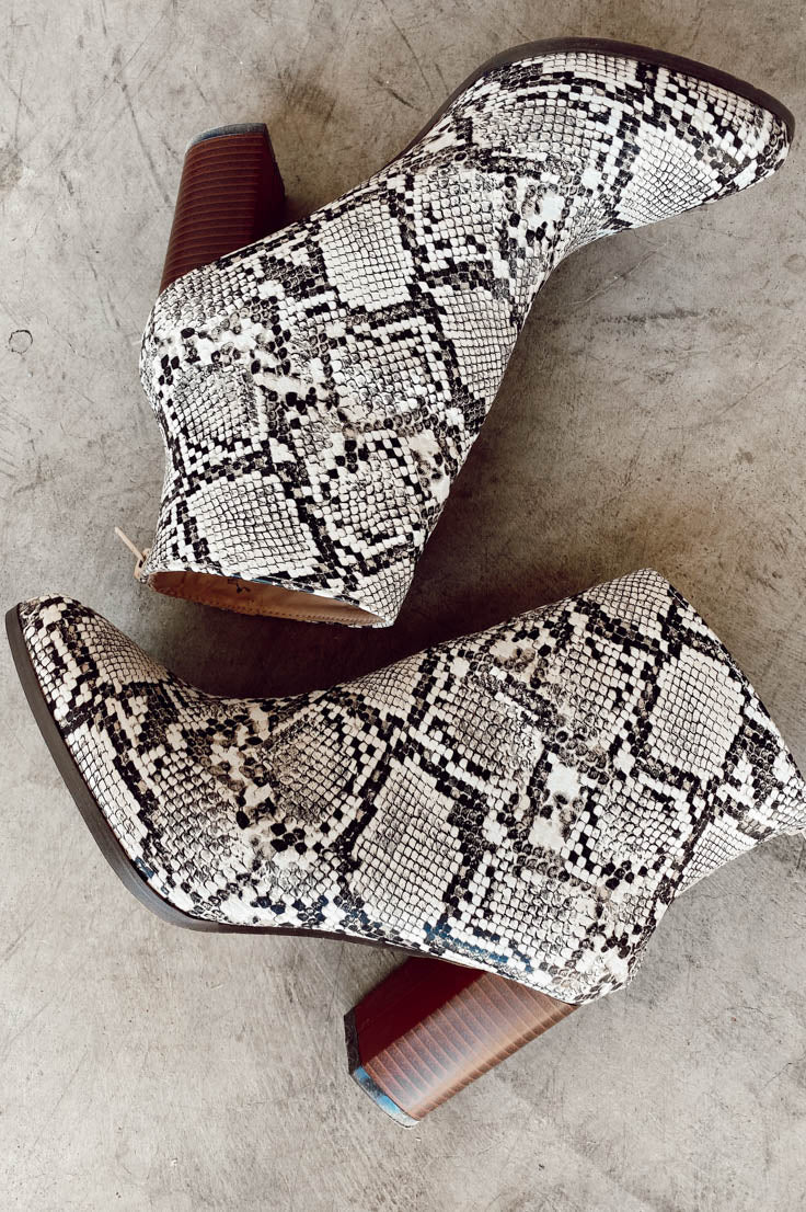 Don't Rock The Boat Booties - Snakeskin