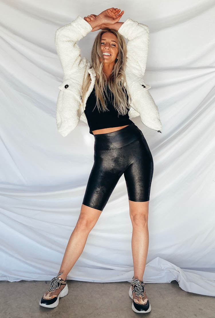 Spanx Faux Leather Biker Shorts