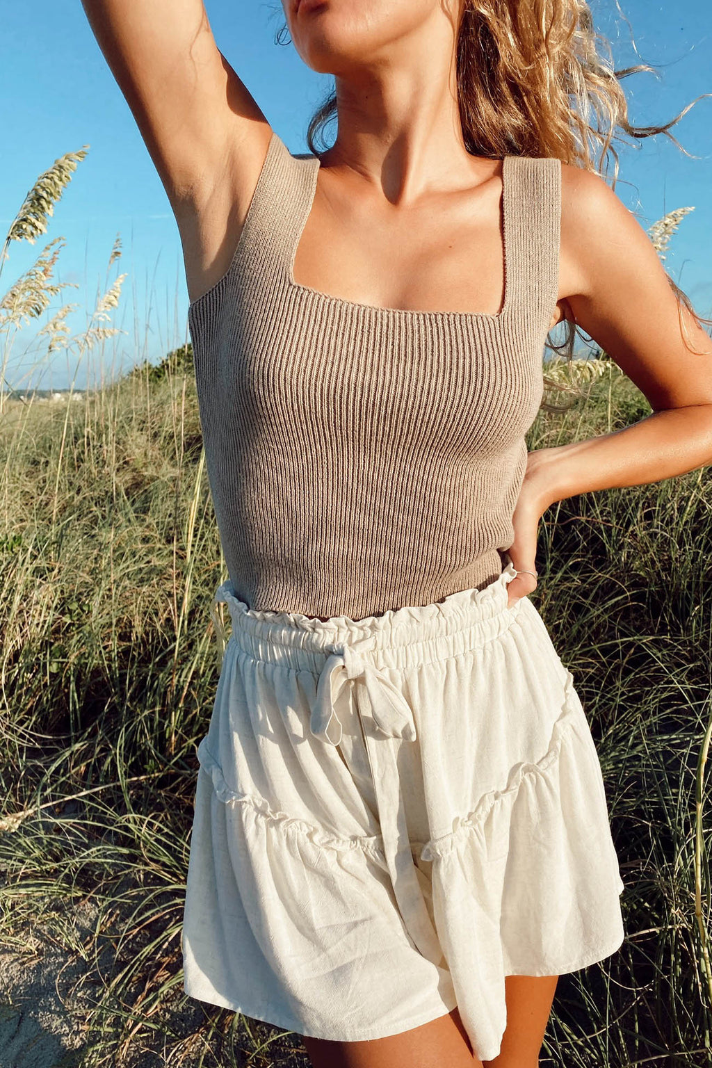 Square Deal Tank in Taupe
