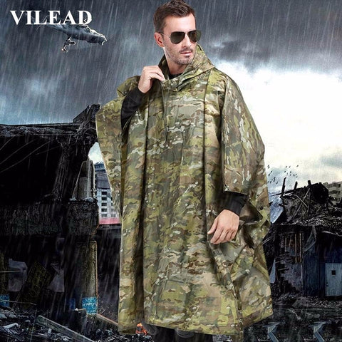 VILEAD Polyester Impermeable Outdoor Raincoat Waterproof Women Men Rain Coat Poncho Cloak Durable Fishing Camping Tour Rain Gear