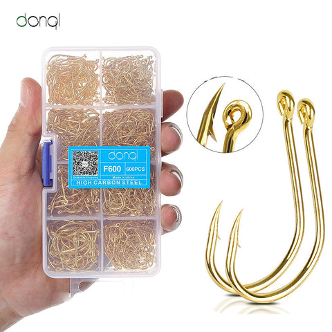 DONQL 200/300/500/600pcs High Carbon Steel Barbed Fishing Hook Carp Fishing hook jig Hook Fishook Tackle Box Fish Accessories