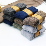 Winter men's thick warm high quality wool socks Harajuku retro super thick snow casual antifreeze socks 3 pair