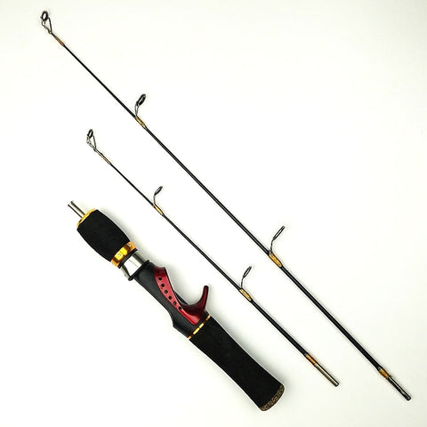 ice fishing rod double tips winter fishing rods 2 sections length 0.55m 0.66m casting rod set spinning pole short fishing tackle