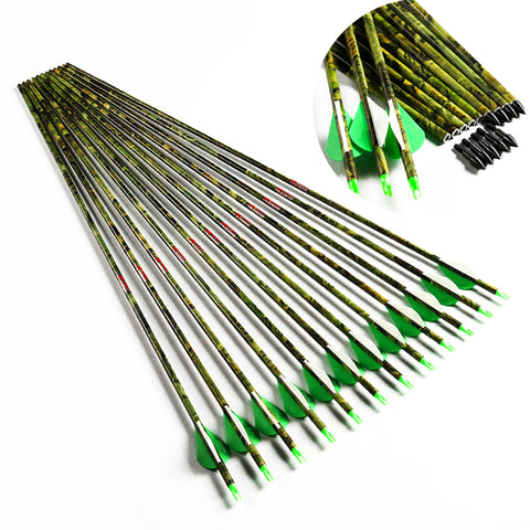 "6/12/24PCS Linkboy Archery Spine 300 400 500 30"" Camo Carbon Arrows 75 GR Point Tips Compound Traditional Bow Hunting"