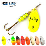 FISH KING Spinner Bait 3.9g 4.6g 7.4g 10.8g 15g Spoon Lures pike Metal With Treble Hooks Arttificial Bass Bait Fishing Lure