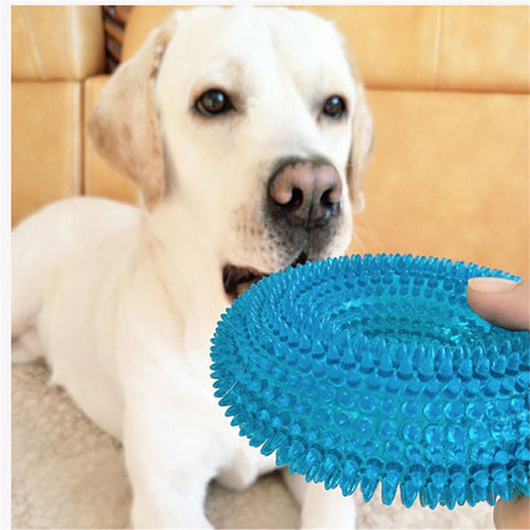 L/M Pet Toys For Golden Retriever Large Dogs Squeak Chew Training Funny Chew Thorn Circle Ring Small Dog Toys Sound Interactive